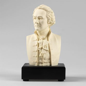 6-inch High Alexander Hamilton Bust Statue Sculpture in White Polystone