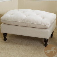 Christopher Knight Home Creme Tufted Fabric Ottoman | Overstock.com
