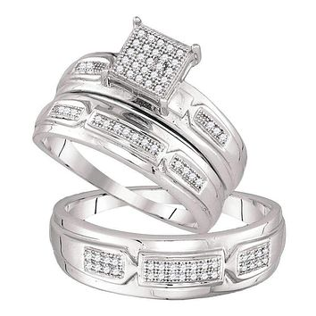 10kt White Gold His & Hers Round Diamond Cluster Matching Bridal Wedding Ring Band Set 1/5 Cttw - FREE Shipping (US/CAN)