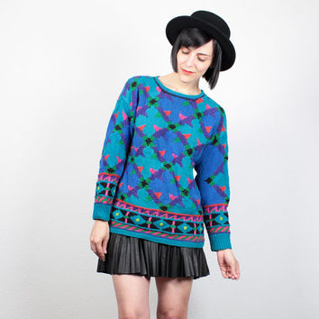 Vintage 80s Hand Knit Sweater 80s Jumper New Wave Cosby Sweater Chunky Knit Abstract Knit Teal Blue Green Pink Hipster Pullover  M Medium L
