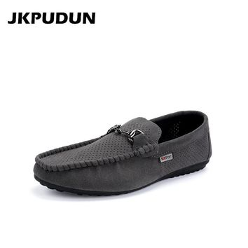 JKPUDUN Summer Mens Shoes Casual Leather Penny Loafers Italian Fashion Breathable Hollow Out Shoes Men Moccasins Driving Shoes