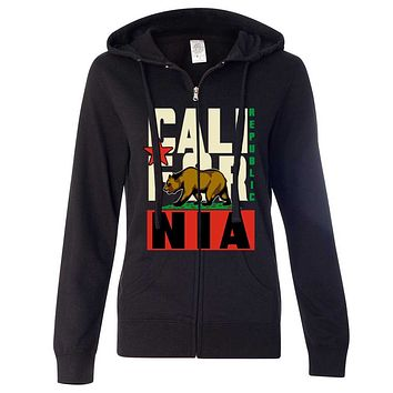California Republic Original Retro Bold Ladies Zip-Up Hoodie