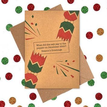 Salt To Pepper On December 25th Season's Greetings Funny Christmas Card Holiday Card FREE SHIPPING