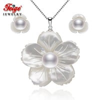 FEIGE Exclusive design Shell carving Pearl jewelry sets for women's White Pearls Pendant Necklace And Earrings Sets Fine Jewelry