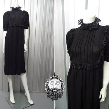 Vintage 70s OSSIE CLARK Moss Crepe Black Midi Dress Puff Sleeve Frill Neck Victorian Dress Gothic Lace Trim Empire Line Pleated Top Radley