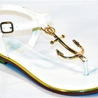 Anchor Away Sandals - White