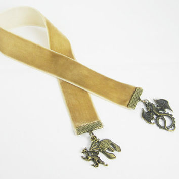 Fantasy Dragon Ribbon Bookmark Fawn Velvet Ribbon Bronze Dragon Helmet Charms Medieval