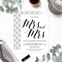 Rustic Chic Lesbian Mrs. and Mrs. Engagement Party Invitations-Calligraphy Engagement Party Invites-Engagement Party Printable-DIY