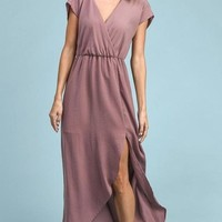 In Paris Mauve Drape Maxi Dress