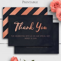 Rose Gold Navy Wedding Thank You Card, Personalized Thank You Notes, Printable Cards, Printable Wedding Templates, Chalkboard Wedding