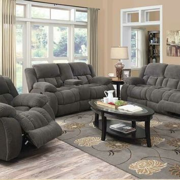 601921-22 2 pc weissman collection charcoal textured chenille fabric upholstered sofa and love seat with recliner ends