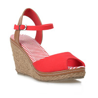 Red & Tan Peep Toe Bypass Espadrille Wedge Sandals
