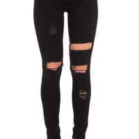 DISTRESSED BLACK LOW RISE SKINNY JEAN