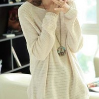 Beige Loose Bat Hollow Sweater For Woman