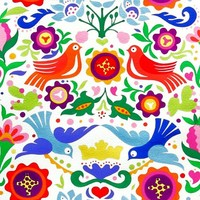1/2 Yard Quilt Fabric La Paloma Folkloric Bird Off White Multi | auntiechrisquiltfabric - Craft Supplies on ArtFire