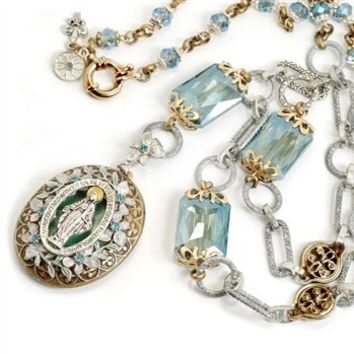 """Sweet Romance, Ollipop, Catholic Designer Miraculous Medal, Blue St. Mary Queen of Miracles Locket Necklace, in These Uncertain Modern Times, Find Hope and Renewal in Familiar and Evocative Symbols of Religion and Love. 30"""" Drops 5. Entirely Executed By Ha"""