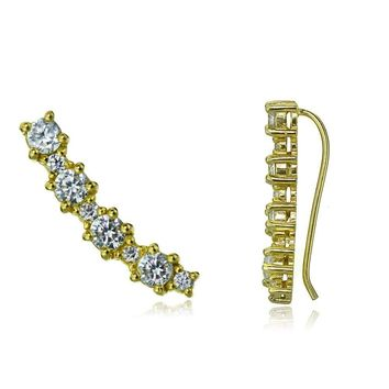 Gold Tone over Sterling Silver Round CZ Curved Crawler Climber Hook Earrings