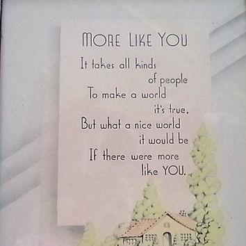 Original A Buzza Framed Lithograph More Like You Vintage Sentimental Verse