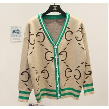 Gucci Autumn Winter Trending Women V Collar Single Breasted G Letter Brief Paragraph Sweater Sweatshirt Knit Cardigan Jacket Coat(3-Color) Apricot