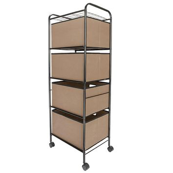 Four-tier Non-woven Fabric Drawer Black Carbon Steel Stoving Varnish Pipes Storage Cart Brown
