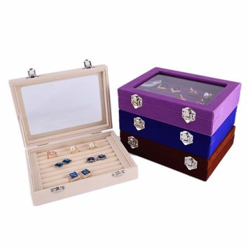 Ring Earring Holder Display Box Organizer Storage Case Tray Jewelry