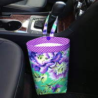 CAR TRASH BAG Gearshift or Headrest Amy Butler Love Bliss Bouquet in Emerald, Women, Car Litter Bag, Auto Accessories, Auto Bag