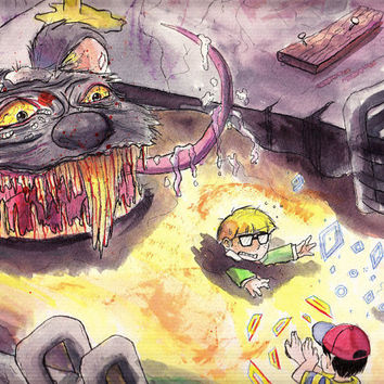 Earthbound - Plague Rat of Doom - Original Watercolor Painting