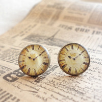 Vintage clock earrings - steampunk stud earring