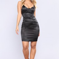 Alecia Satin Dress - Black
