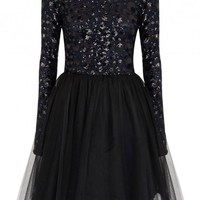 Bergen navy and black sequinned tulle dress