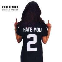 S-4XL Woman's Tops Fashion Print Black T Shirt Short Sleeve Fashion Letter Print HATE YOU Cotton O Neck Summer Style Tops Women