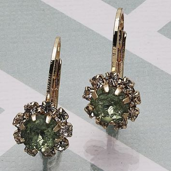 Gold Layered Women Flower Leverback Earring, with Light Green Crystal, by Folks Jewelry