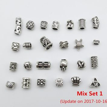 Free shipping 25Pcs/Lot mix set for hair braid dread dreadlock beads clips cuff approx 4.8-6mm hole