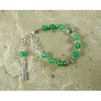 Danu Prayer Bead Bracelet in Green Agate:  Irish Celtic Mother Goddess