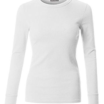 LE3NO Womens Basic Soft Lightweight Fitted Round Neck Long Sleeve Shirt