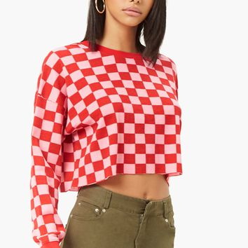 Checkered Waffle-Knit Top