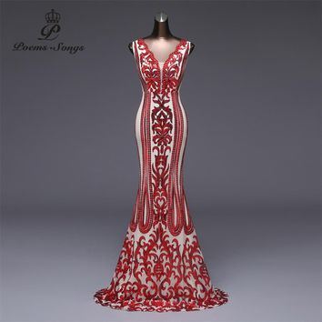Poems Songs 2018 Formal party dress long Evening Dress vestido de festa Luxury Red Sequin robe longue prom gowns