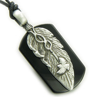 Amulet Spiritual Protection Eagle Lucky Feather Tag Black Agate Pendant Necklace