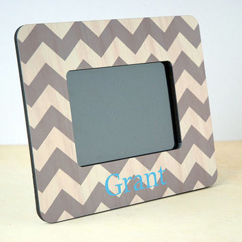 Personalized Picture Frame, Chevron Picture Frame for Baby, Baby Shower Gifts for Boy, Father's Day Gift from Son, Grandparents Gift