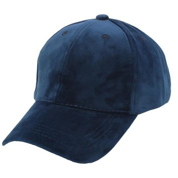 Unisex Soft Velvet Baseball Cap Solid Adjustable Sports Hat Plain Hat