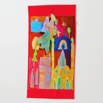 Rainbow Angel Beach Towel by Azima