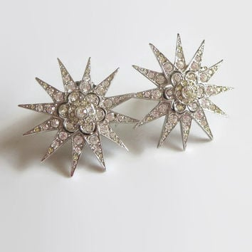 ON SALE Butler & Wilson Rhinestone Star Earrings, 12-Pointed, Starbursts, Vintage, Pavé Crystals, Signed, Fabulous!