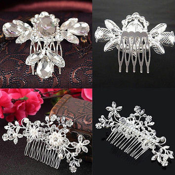 Wedding Bridal Jewellery Rhinestone Crystal Flower Pearls Silver Hair Comb ClipS