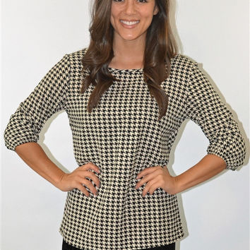 Houndstooth Print Bow Back Top
