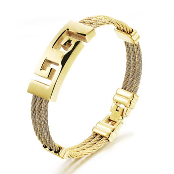 Three rings steel wire braided rope wristband Tyrant King Fret pattern design Stainless steel