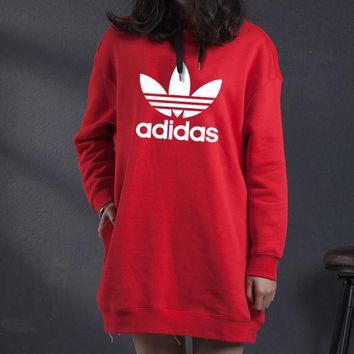 ADIDAS Clover autumn and winter new women's retro round neck college wind dress Red