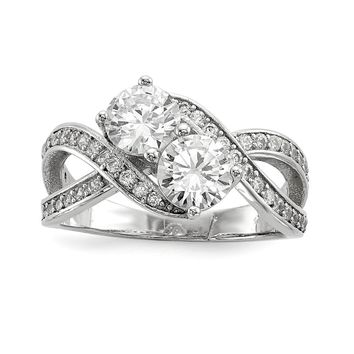 925 Sterling Silver Rhodium-plated Cubic Zirconia Two Stone Polished Ring