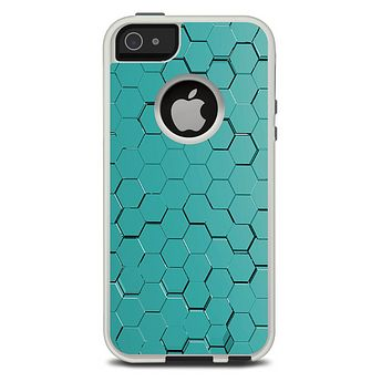The Teal Hexagon Pattern Skin For The iPhone 5-5s Otterbox Commuter Case