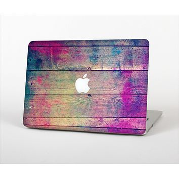 The Pink & Blue Grunge Wood Planks Skin Set for the Apple MacBook Pro 13""