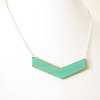 Large Wooden Chevron Necklace in Aqua and Maple